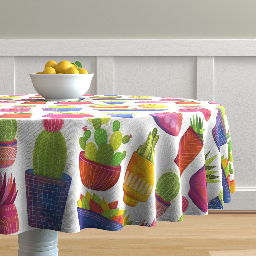 Malay Round Tablecloth featuring Cactus by quietly_fiery