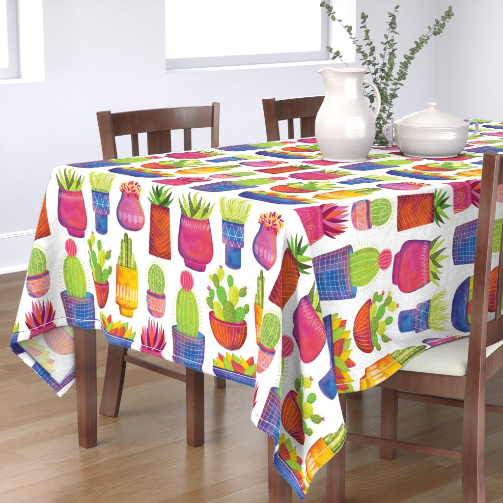 Bantam Rectangular Tablecloth featuring Cactus by quietly_fiery