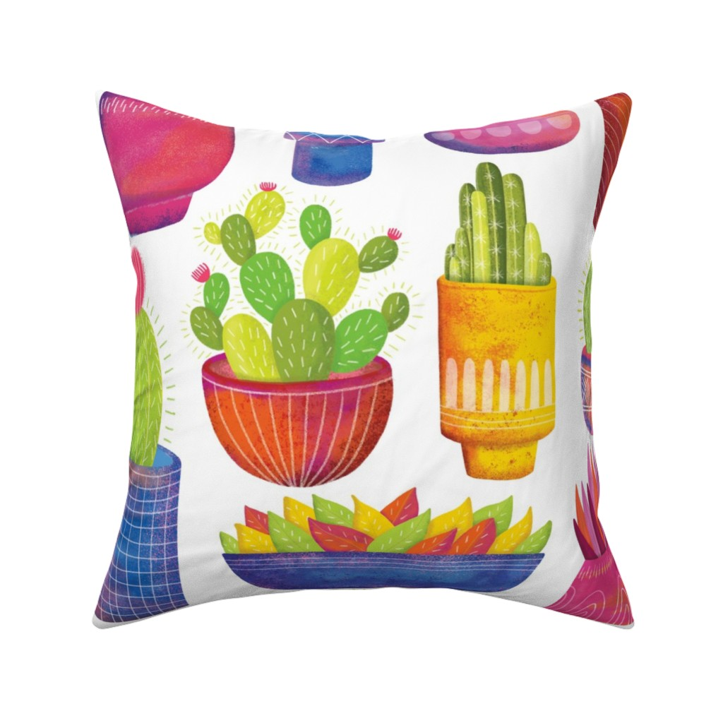 Catalan Throw Pillow featuring Cactus by quietly_fiery