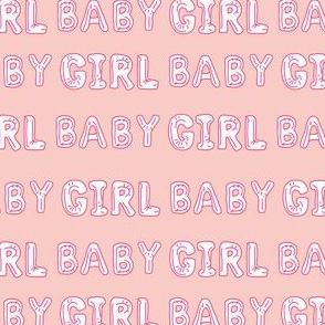 baby girl balloon fabric - baby girl, expecting fabric, pregnancy fabric, congratulations - white