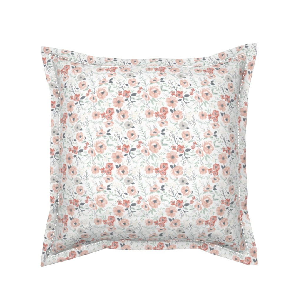 Serama Throw Pillow featuring Small-Medium Soft Meadow Floral by sweeterthanhoney