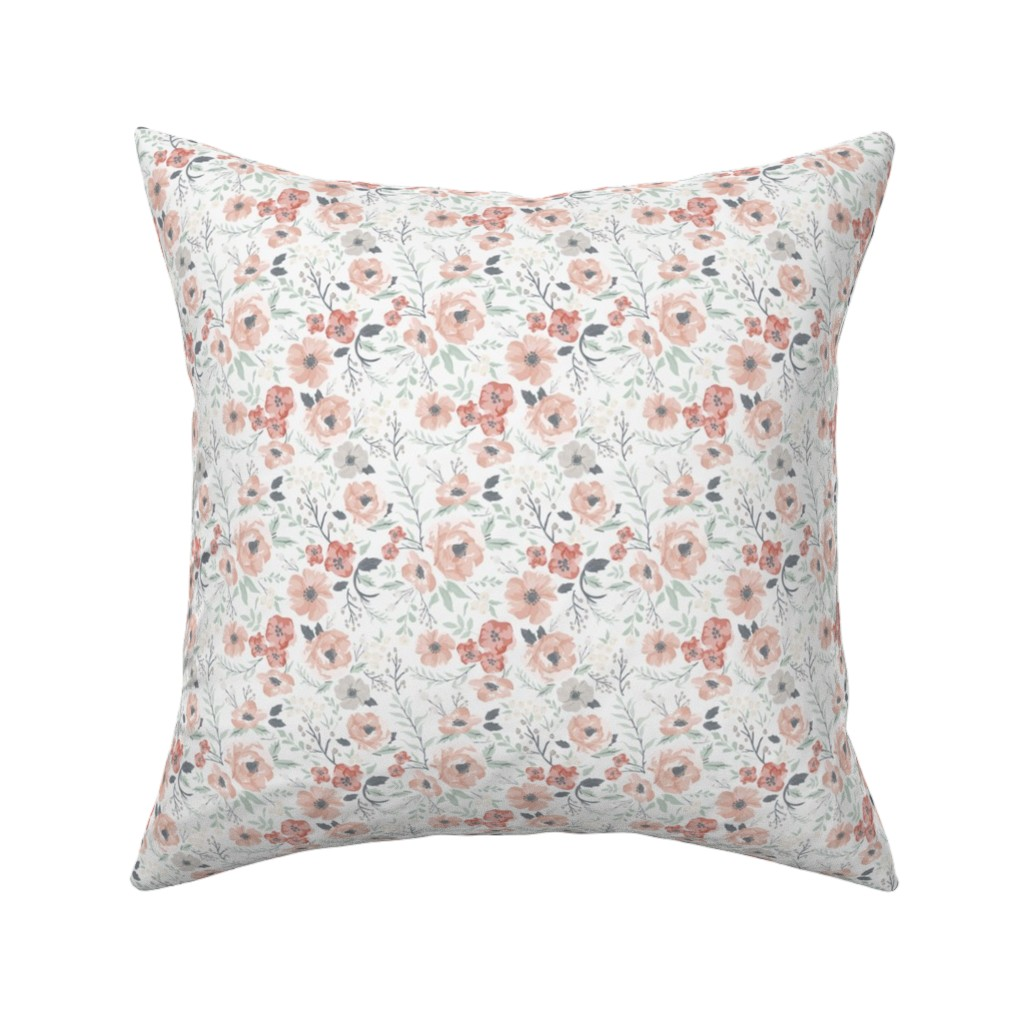 Catalan Throw Pillow featuring Small-Medium Soft Meadow Floral by sweeterthanhoney