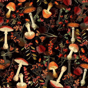 """10"""" red vintage hand drawn botnical fungus mushrooms double on black"""