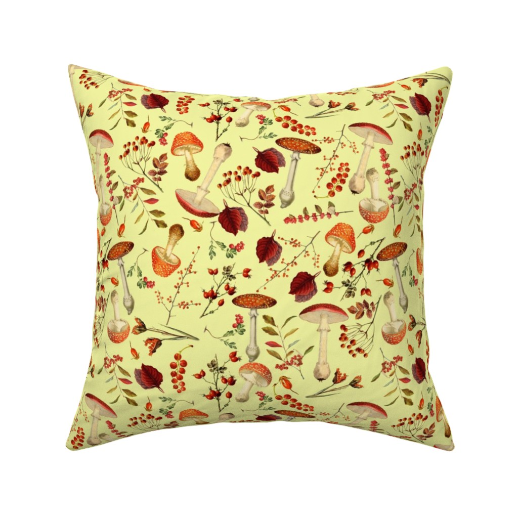 Catalan Throw Pillow featuring red vintage hand drawn botnical fungus mushrooms double on yellow by utart