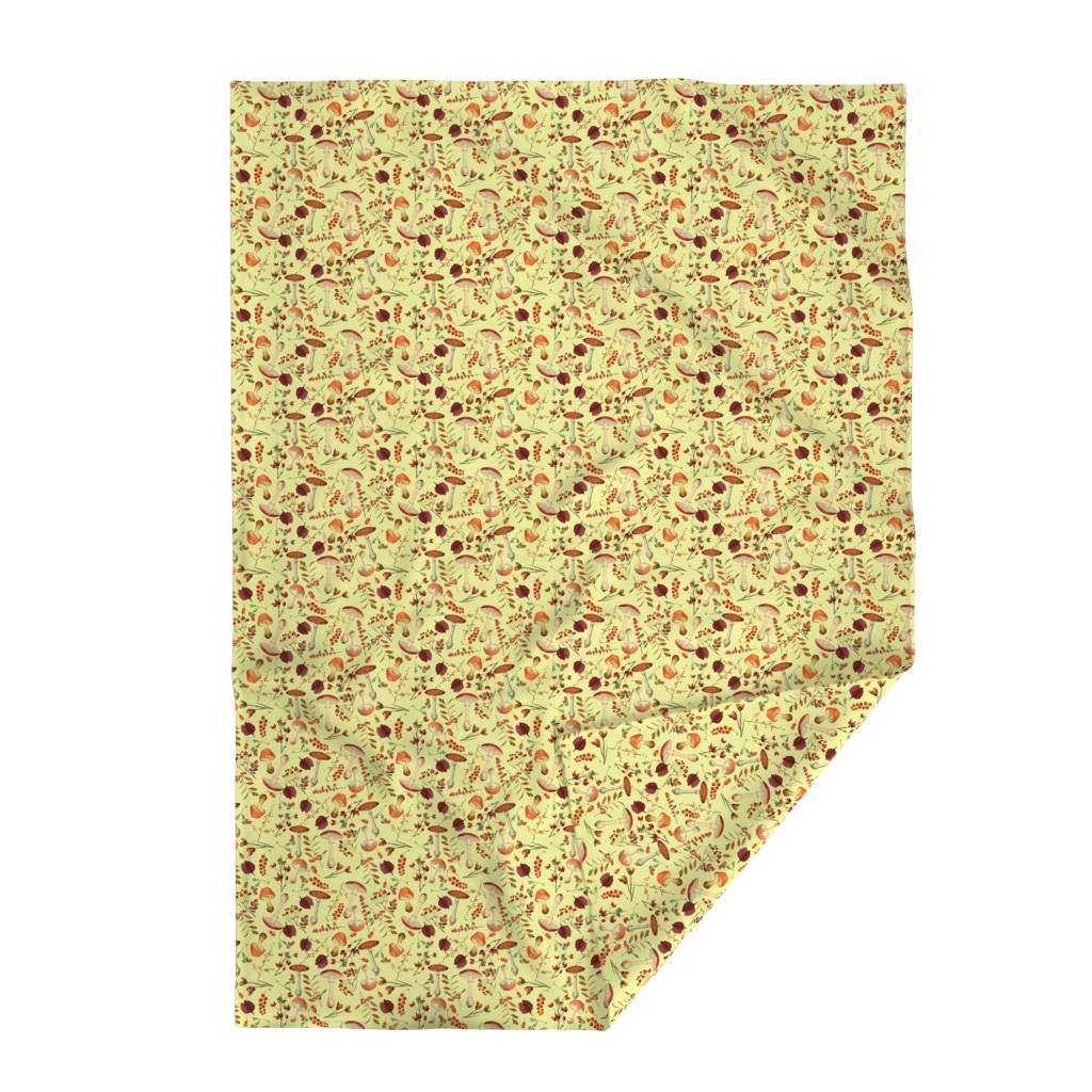Lakenvelder Throw Blanket featuring red vintage hand drawn botnical fungus mushrooms double on yellow by utart