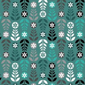 Scandinavian Flowers Green