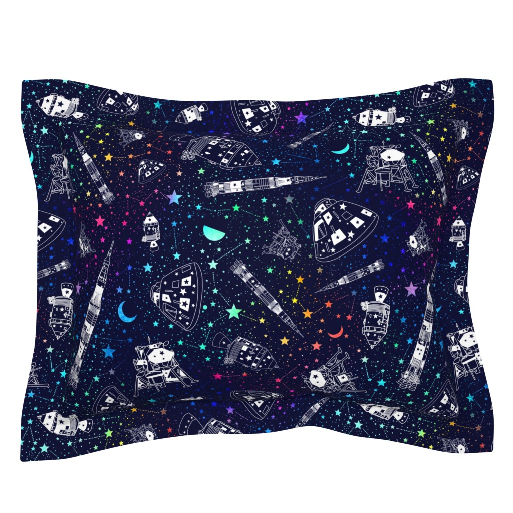 Sebright Pillow Sham featuring Off to the moon by emeryallardsmith
