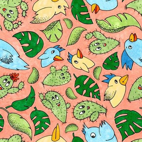 Birds and Plants in Red and Green