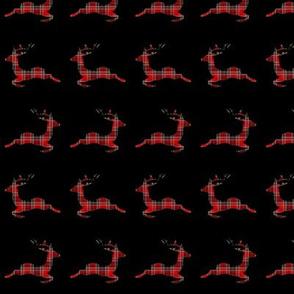 Reindeers Prancing In Plaid Pattern