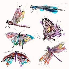 Butterfly And Dragonfly Watercolor Pattern