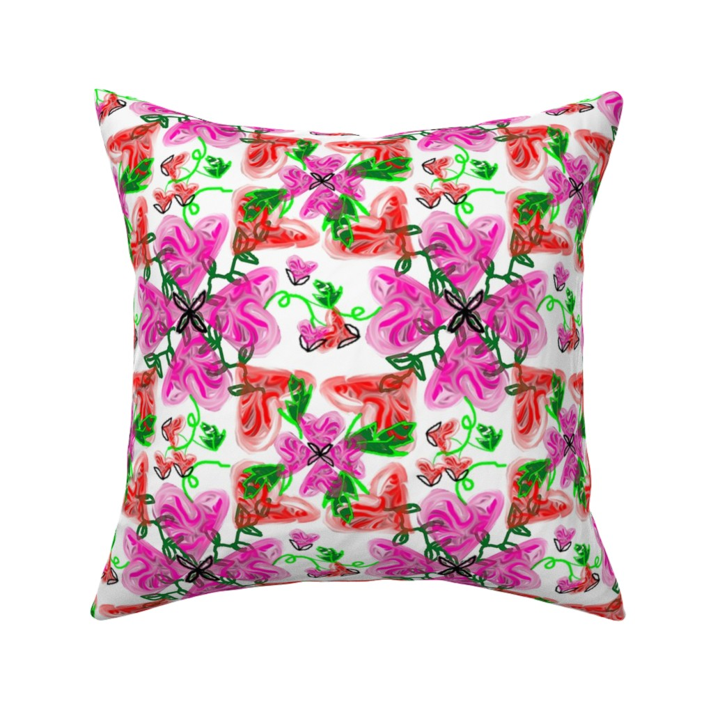 Catalan Throw Pillow featuring Bleeding Hearts abstract by lorloves_design