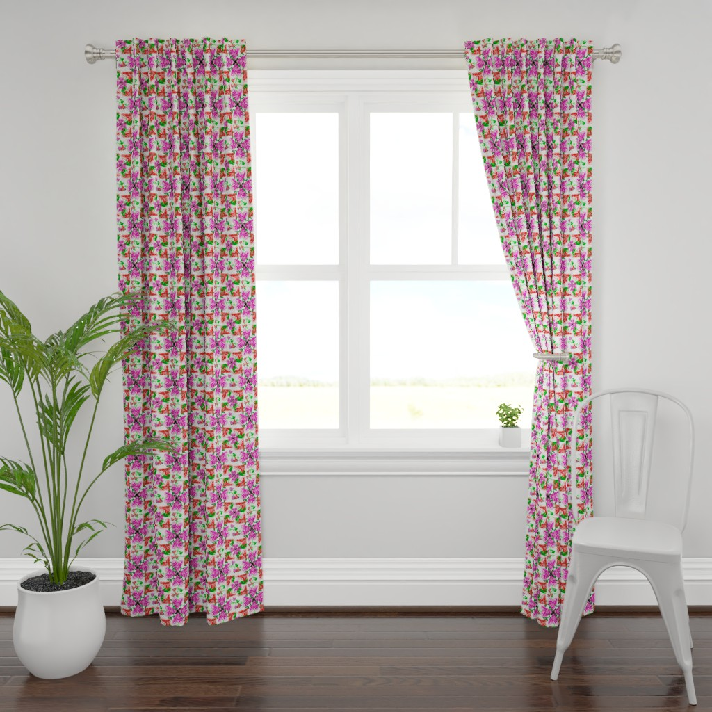 Plymouth Curtain Panel featuring Bleeding Hearts abstract by lorloves_design