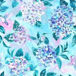 Little lovebirds - Hummingbirds & Hydrangeas, Watercolor