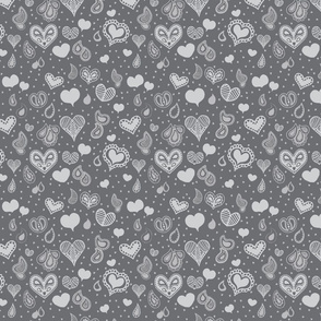 Paisley Heart Patterns Grey