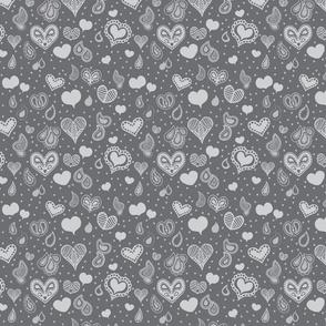 Paisley Heart Patterns Grey
