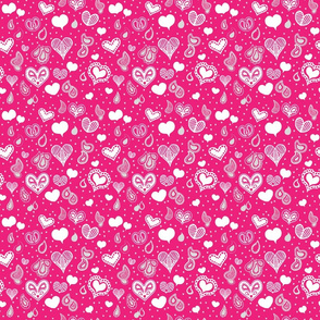 Paisley Heart Patterns White and Grey on Pink