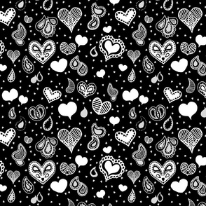 Paisley Heart - Grey and White on Black