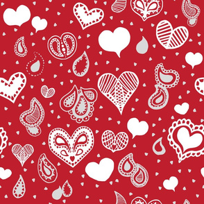 Paisley Valentine Pattern White on Red