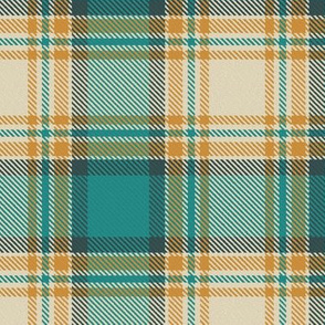 Teal Aqua Orange and Cream Plaid