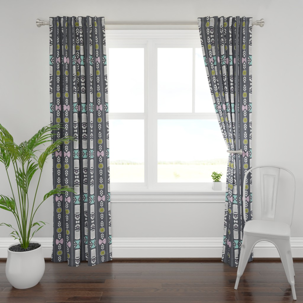Plymouth Curtain Panel featuring Fancy Noodle by quietly_fiery