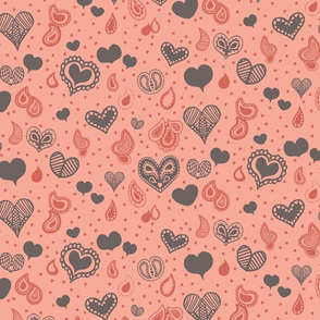 Paisley Heart Patterns in Coral and Grey