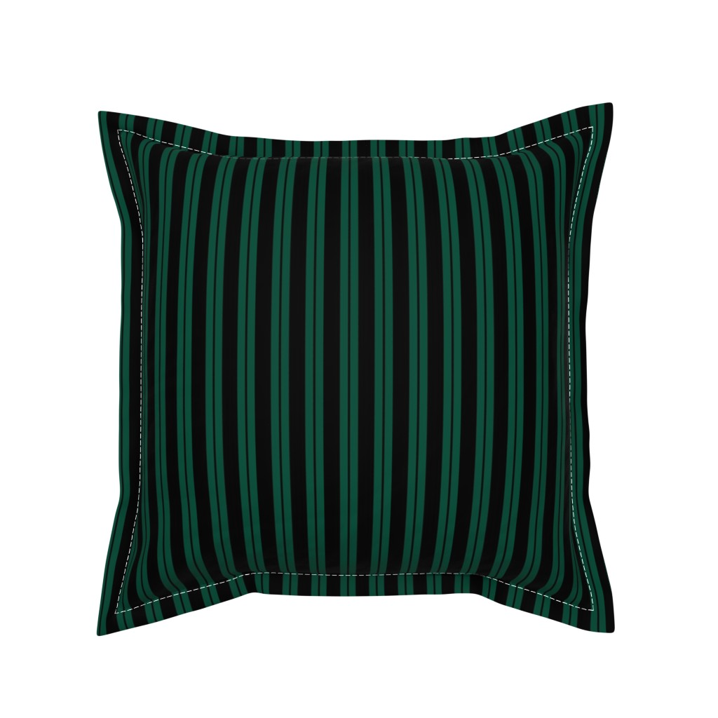Serama Throw Pillow featuring Mansion Maid Green Stripe Pattern by loosetoon
