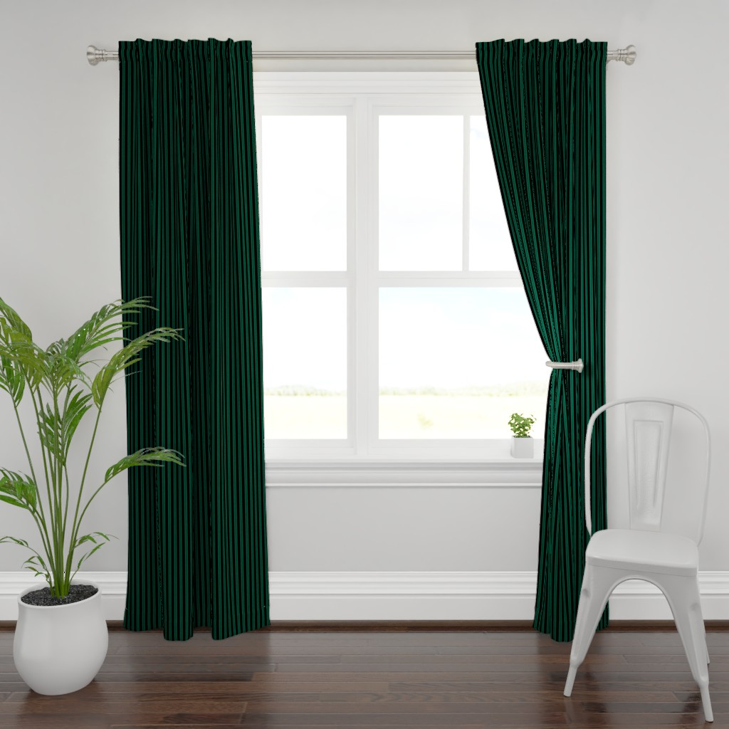 Plymouth Curtain Panel featuring Mansion Maid Green Stripe Pattern by loosetoon
