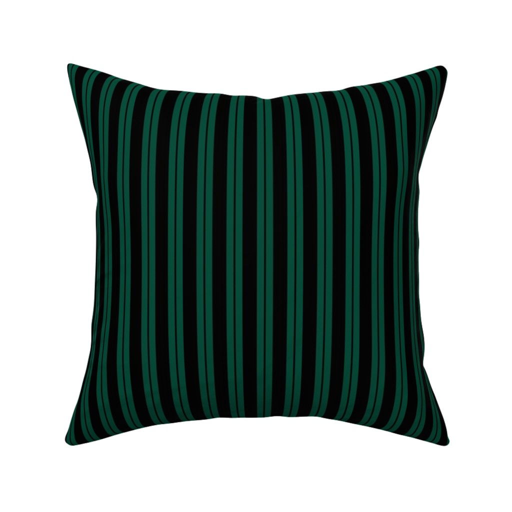 Catalan Throw Pillow featuring Mansion Maid Green Stripe Pattern by loosetoon