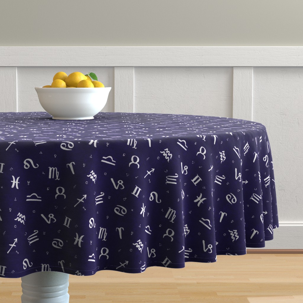 Malay Round Tablecloth featuring Symbols of Astrology  by autumn_musick