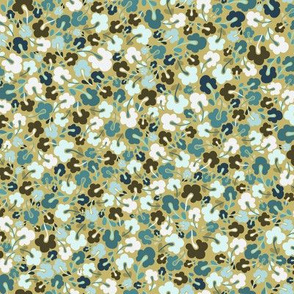 Scandi Flowers - Ditsy Coordinate - Blue and Green