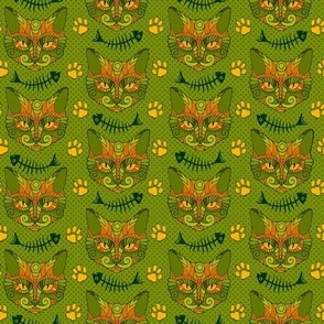 Cat Doodle with Fish Bones in Green & Orange
