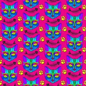 Rainbow Cat Doodle with Fish Bones on Pink