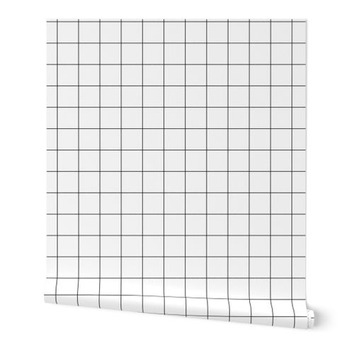 1 Inch Black And White Grid White Wit Spoonflower