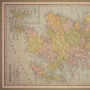 Scotland map, vintage, large