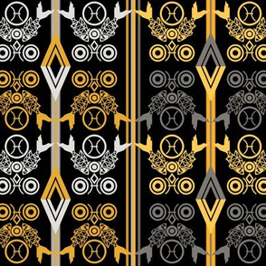 Zodiac signs fish ornamental decor pattern black