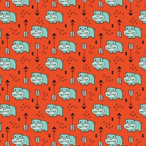 Cute little baby hippo kids fabric design in mint red SMALL