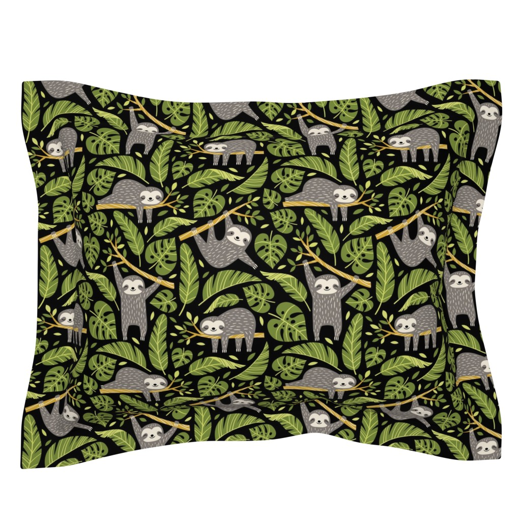 Sebright Pillow Sham featuring lazy sloths - black, large by mirabelleprint