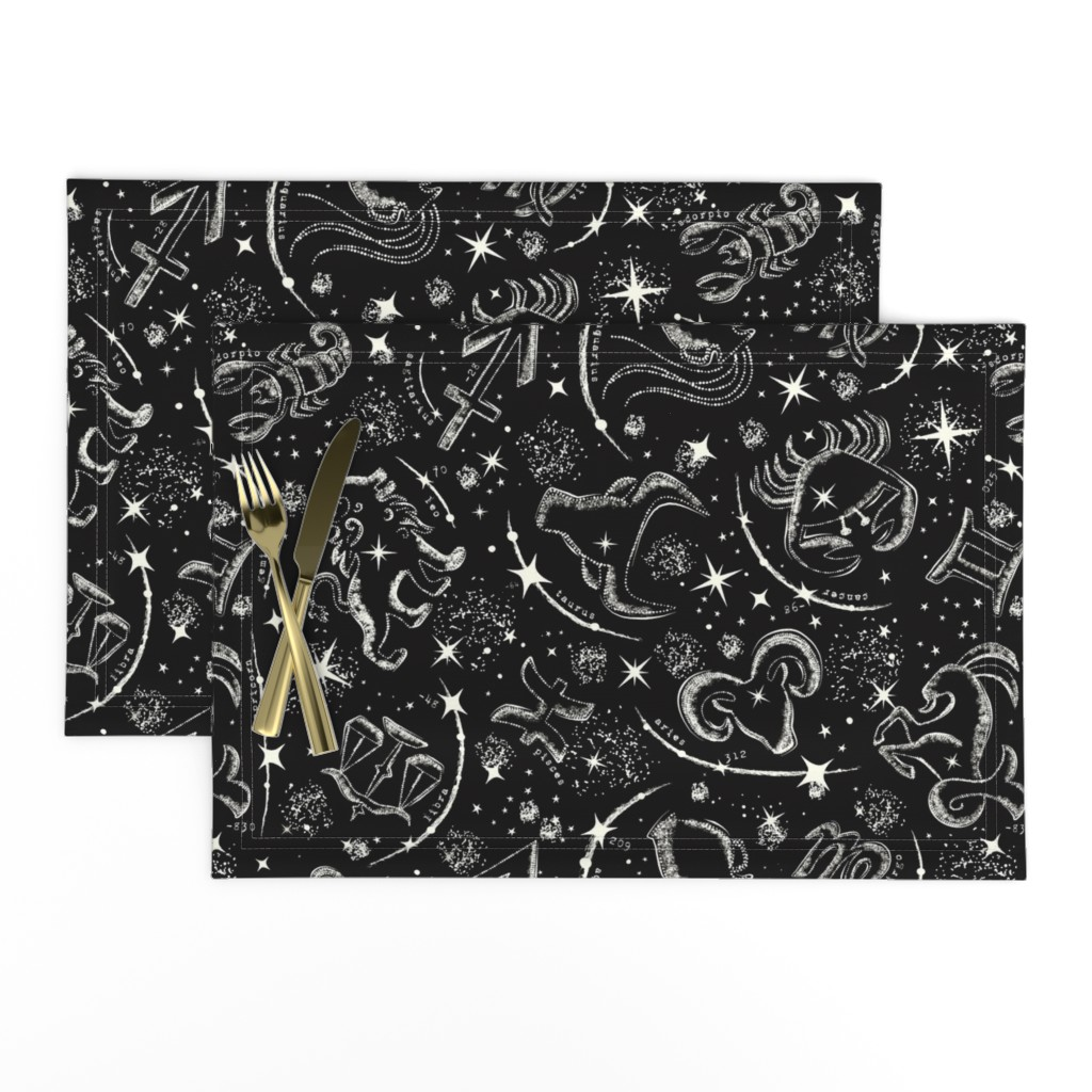 Lamona Cloth Placemats featuring Star Child - Black  by heatherdutton