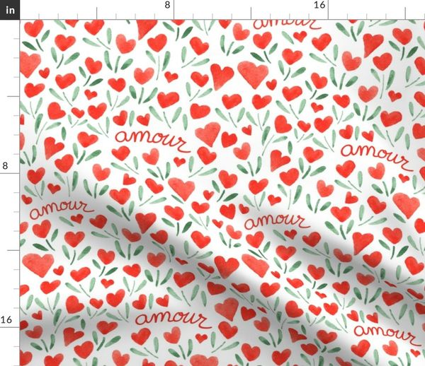 Telas Por Metros Love Corazón Amor Acuarela Copas Rojo Enamorado