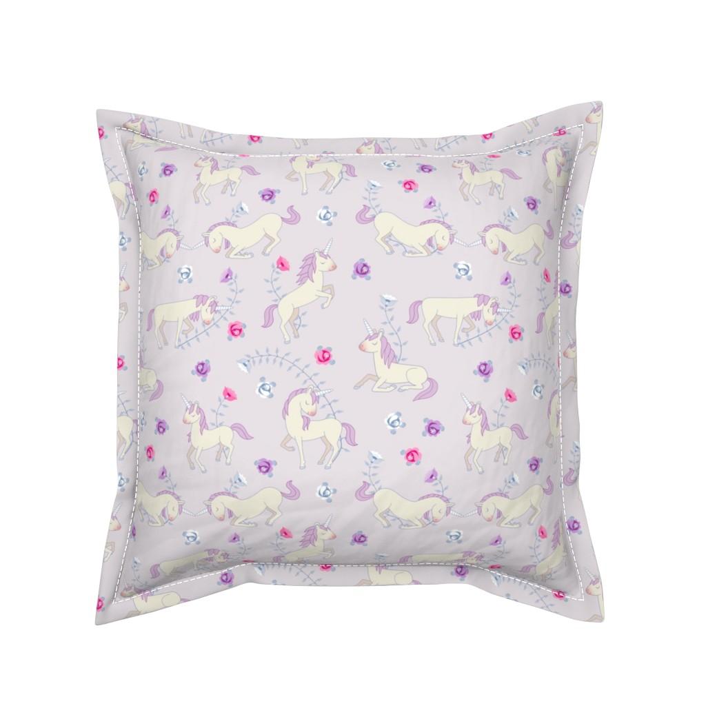 Serama Throw Pillow featuring Floral Unicorns: Pink by thimblefolio