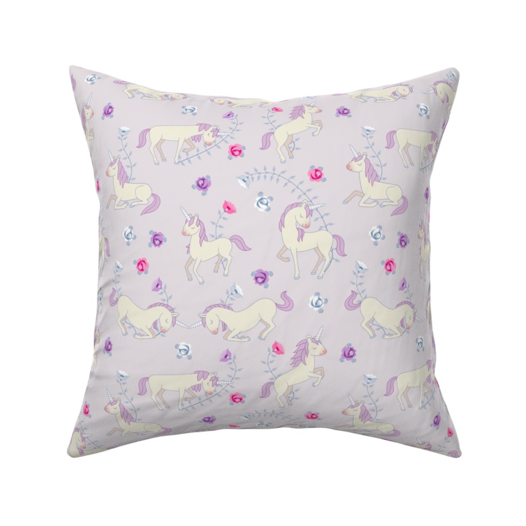 Catalan Throw Pillow featuring Floral Unicorns: Pink by thimblefolio