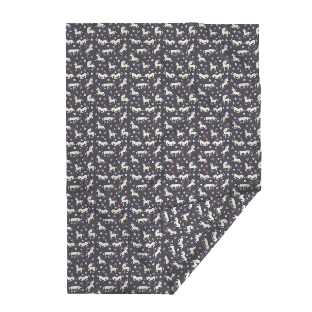 Lakenvelder Throw Blanket featuring Floral Unicorns: Grey by thimblefolio