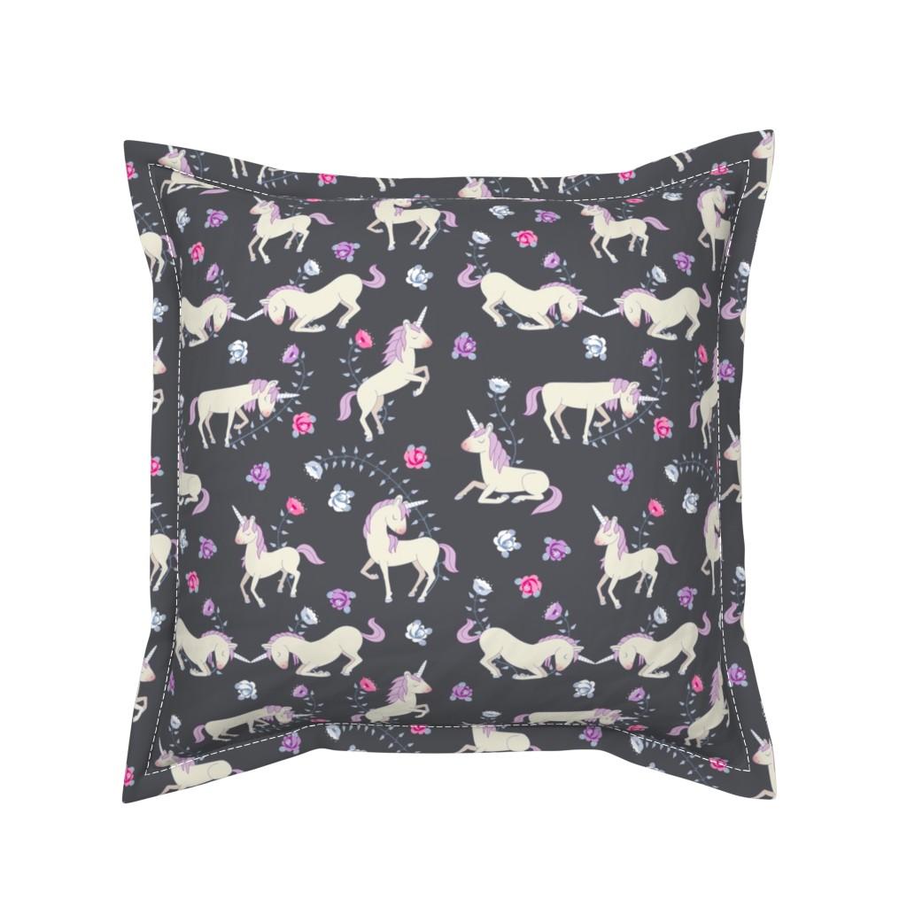 Serama Throw Pillow featuring Floral Unicorns: Grey by thimblefolio