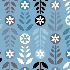 Scandinavian Flowers Blue Large