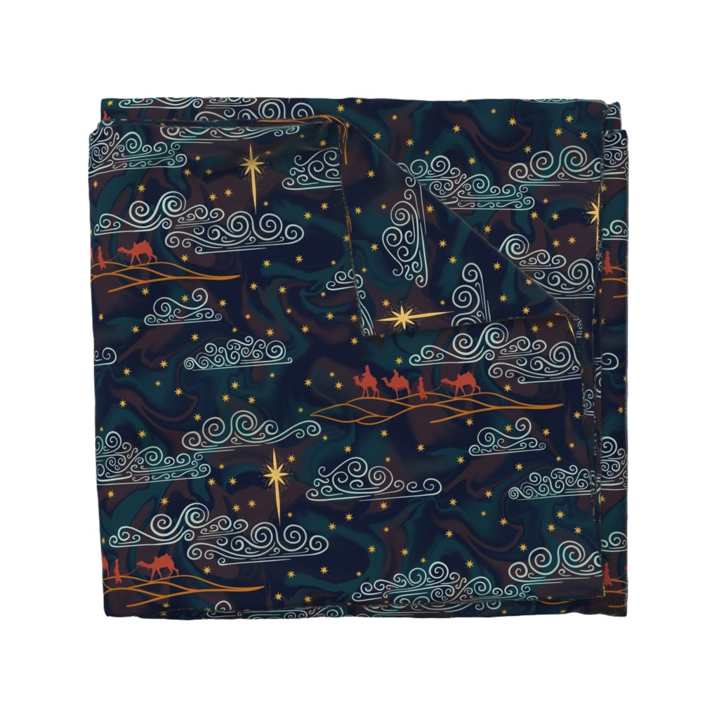 Wyandotte Duvet Cover featuring The Star & The Three Magi by new_branch_studio