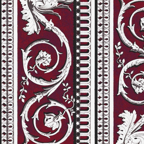 Louis XVI Border ~ Mottled Oxblood