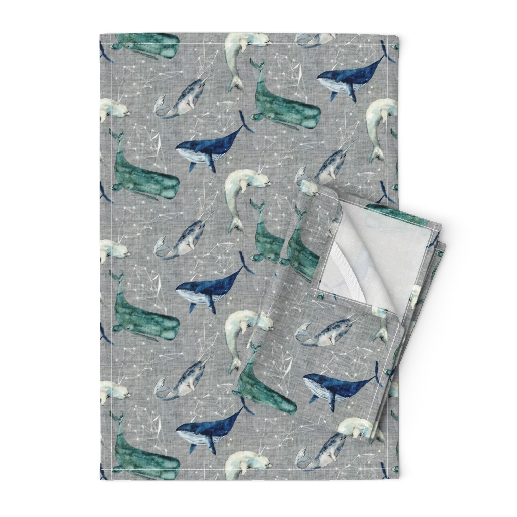 Orpington Tea Towels featuring Atlantis Whales (grey)  by nouveau_bohemian