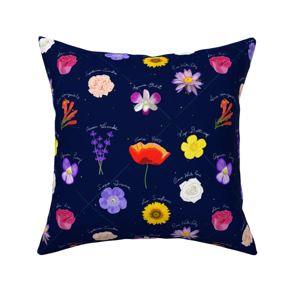 Catalan Throw Pillow featuring What Flower Is Your Sign? by teawithxanthe