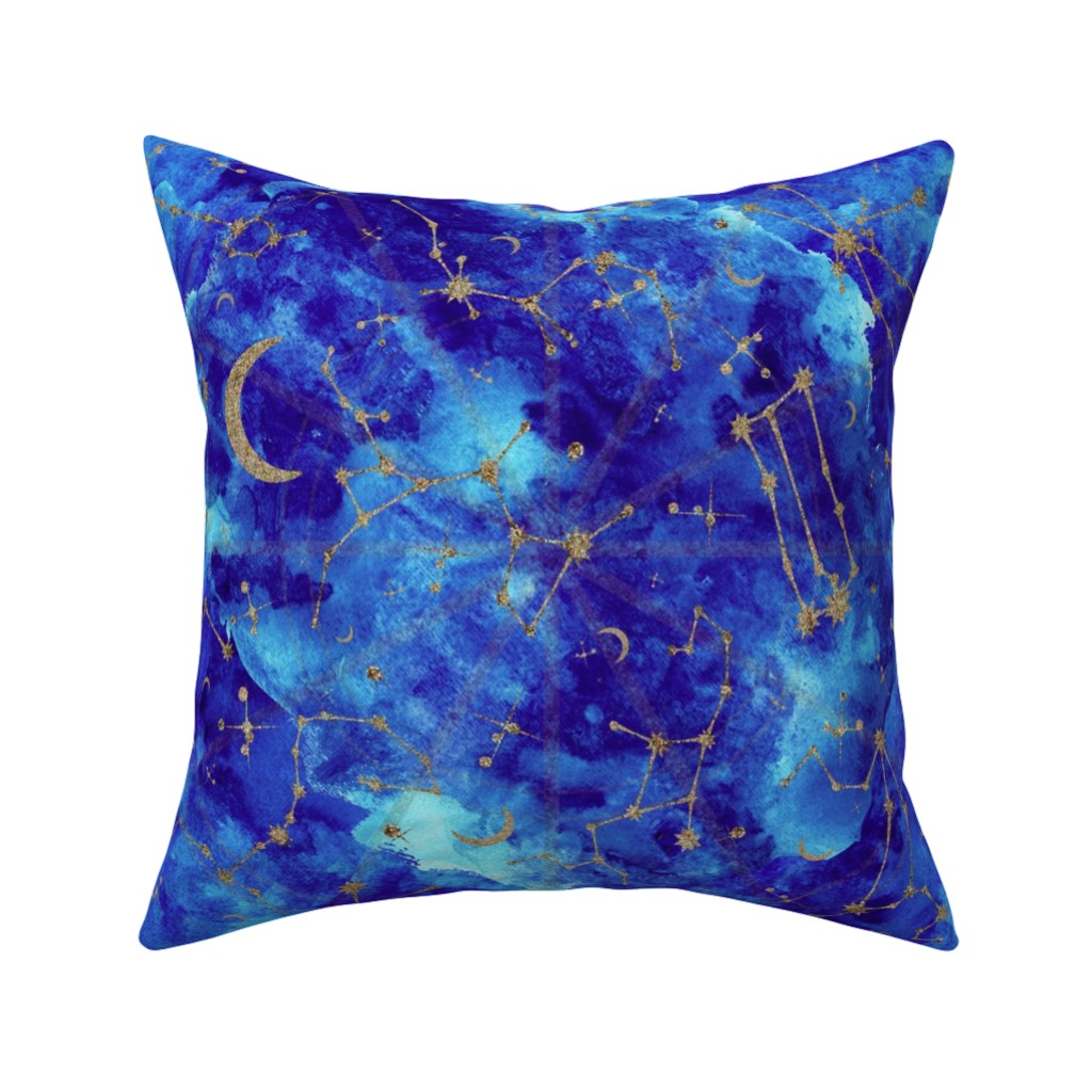 Catalan Throw Pillow featuring Celestial Zodiac Constellations in Midnight Watercolor by elliottdesignfactory