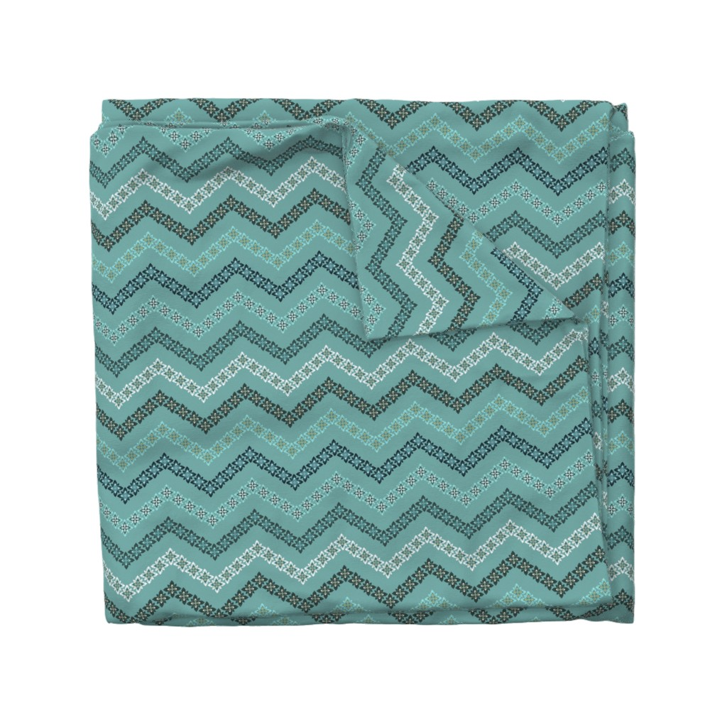 Wyandotte Duvet Cover featuring Scandi Flowers - Blue and Green - Flower Chevron Coordinate by paula_ohreen_designs